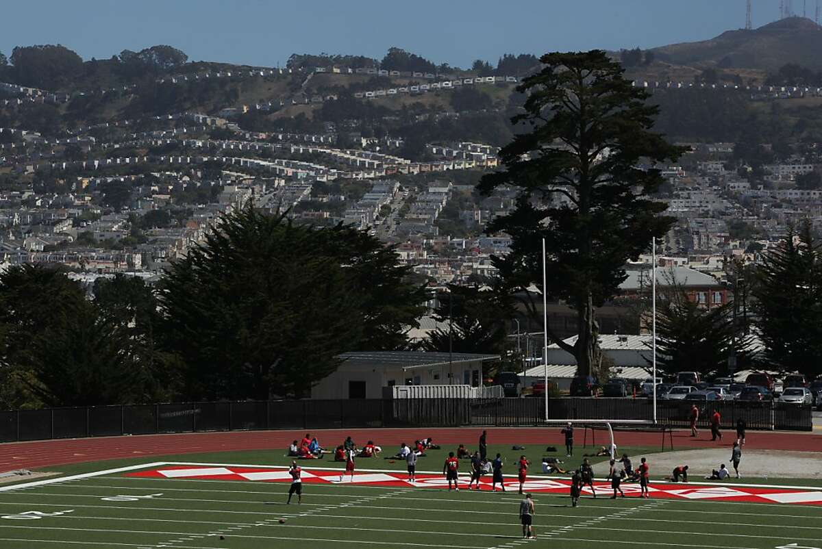 The school football team practicing at City College of San Francisco in San Francisco, Calif., on Tuesday, July 7, 2012.