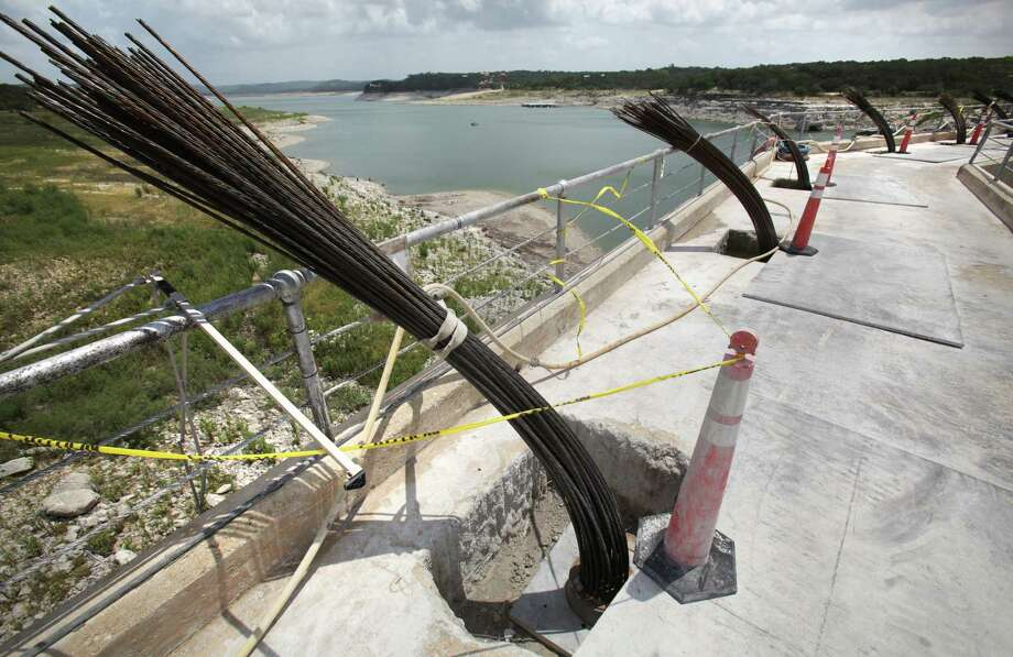 "Reinforced ""anchors"", which go from the top of Medina Dam all the way to the bottom, into the bedrock below the dam.  There are a total of 33 of these anchors, reinforcing the structure, Monday, July 2, 2012. Photo: BOB OWEN, San Antonio Express-News / © 2012 San Antonio Express-News"