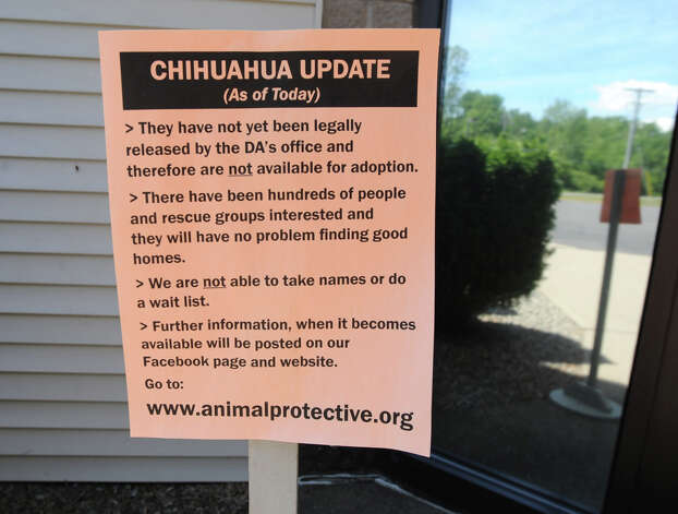 Asign is posted by the front door at the Animal Protective Foundation Tuesday, July 3, 2012 in Glenville, N.Y. A group of Chihuahuas that being kept at this shelter are not available for adoption, yet, due to an ongoing legal case. Lately, the shelter has been full or near full capacity. (Lori Van Buren / Times Union) Photo: Lori Van Buren