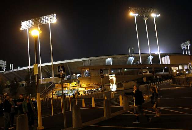 Fans leave the O.Co Coliseum after the Oakland A's win over the Blue Jays in Oakland, Calif., Tuesday, May 8, 2012. Photo: Sarah Rice, Special To The Chronicle