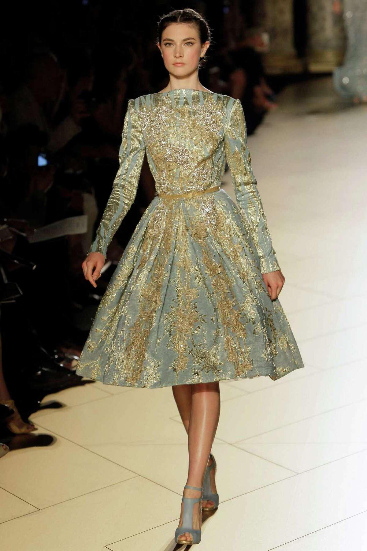 A model wears a creation by fashion designer Elie Saab.