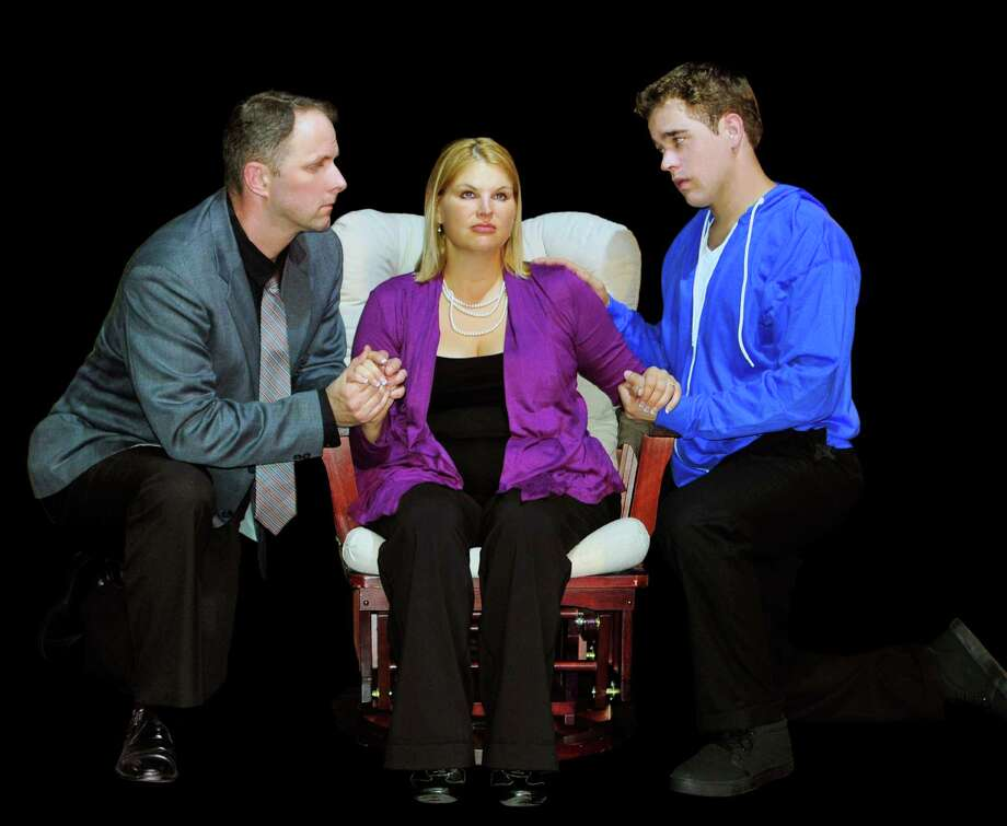 "Josh Harris (from left), Beth Erwin and Matthew Lieber play a troubled family in the Woodlawn Theatre's ""Next to Normal.""  Photo: Courtesy, Woodlawn Theatre"