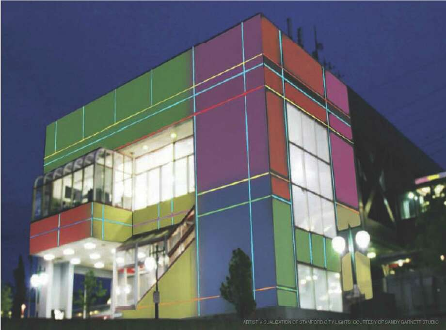 Stamford finance and planning officials have approved a $305,000 project to bathe the Stamford train station in an array of colorful outdoor lights. Photo: Contributed Photo