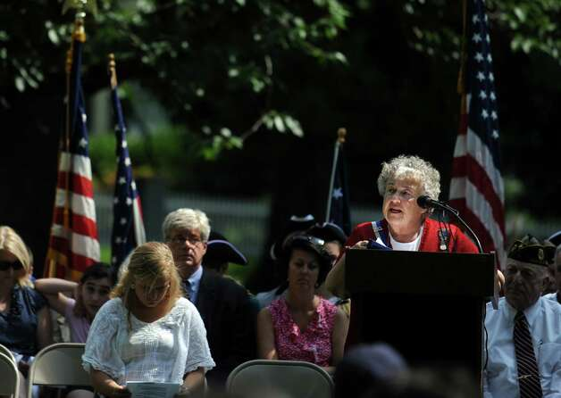 Betty Oderwald, president of the Connecticut State Society of the U.S. Daughters of 1812, speaks Wednesday, July 4, 2012 during the 119th annual Independence Day Celebration at Town Hall in Fairfield, Conn. Photo: Autumn Driscoll / Connecticut Post