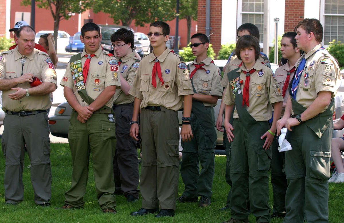 Boy Scouts from Troop 721 attend a bell ringing ceremony to celebrate Independence Day, which was held on the green in Milford, Conn. on Wednesday July 4, 2012.