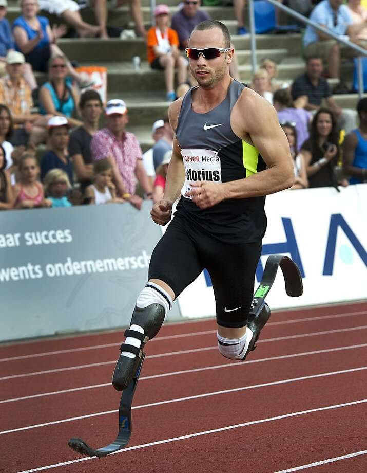 (FILES) This file picture taken on on May 27, 2012 shows South African athlete Oscar Pistorius running during the 400 metres at the Fanny Blankers Koen Games in Hengelo, the Netherlands. Double amputee Oscar Pistorius failed on June 29, 2012 in his bid to qualify for the 400m in next month's Olympic Games. The South African timed 45.52 seconds to win silver in the African Championships in Porto Novo, Benin, outside the qualifying time of 45.30sec.  AFP PHOTO / ANP / TOUSSAINT KLUITERS   ***NETHERLANDS OUT***TOUSSAINT KLUITERS/AFP/GettyImages Photo: Toussaint Kluiters, AFP/Getty Images