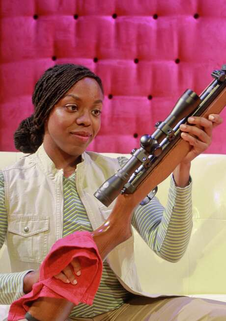 """Mildred's Umbrella, the theater company Decker founded, specializes in plays """"about human beings who happen to be female."""" Here: Brittney Bush, in """"Large Animal Games."""" Photo: Gary Fountain / Copyright 2012 Gary Fountain."""
