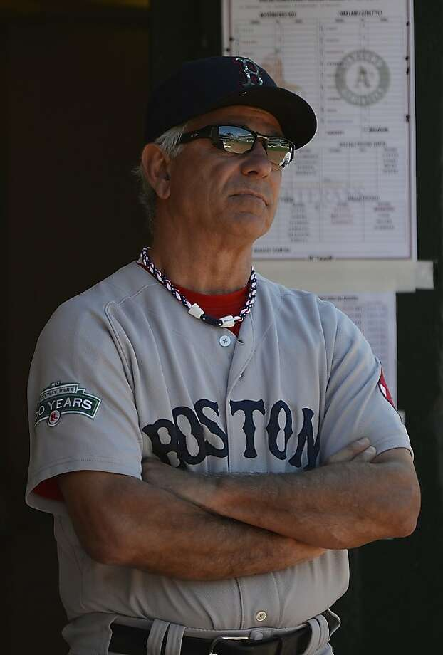 OAKLAND, CA - JULY 04:  Manager Bobby Valentine #25 of the Boston Red Sox looks on from the dugout in the seventh inning against the Oakland Athletics at O.co Coliseum on July 4, 2012 in Oakland, California.  (Photo by Thearon W. Henderson/Getty Images) Photo: Thearon W. Henderson, Getty Images