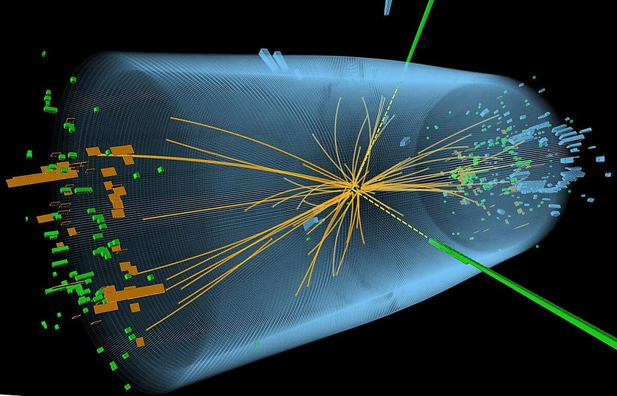 An undated handout graphic distributed on July 4, 2012 by the European Organization for Nuclear Research (CERN) in Geneva shows a representation of traces of traces of a proton-proton collision measured in the Compact Muon Solenoid (CMS) experience in the search for the Higgs boson. Physicists have found a new sub-atomic particle in their search for the Higgs boson, a top CERN scientist said on July 4, 2012.