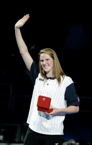 Missy Franklin waves after receiving an Omega High Point Award during the closing ceremony at the U.S. Olympic swimming trials on Monday, July 2, 2012, in Omaha, Neb. (AP Photo/Mark Humphrey) Photo: Associated Press