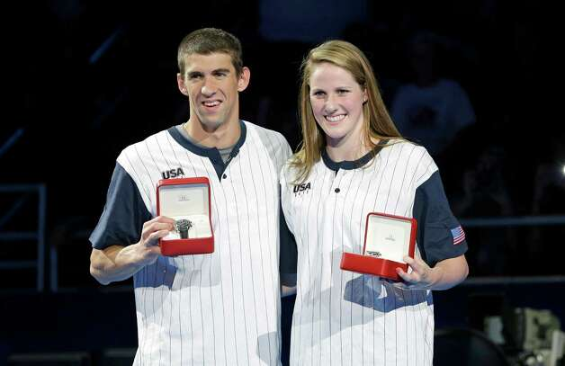 Michael Phelps and Missy Franklin pose after receiving Omega High Point awards during the closing ceremony at the U.S. Olympic swimming trials on Monday, July 2, 2012, in Omaha, Neb. (AP Photo/Mark Humphrey) Photo: Associated Press
