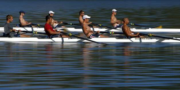 "The U.S. Olympic rowing team men's ""eight"" team practices in two ""four"" boats on Briones Reservoir on Wednesday, July 4, 2012, in Orinda, Calif. Photo: Carlos Avila Gonzalez, The Chronicle"