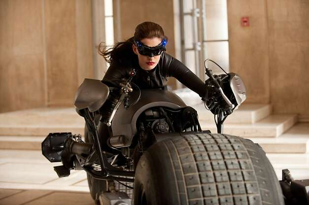 """The Dark Knight Rises"":  Anne Hathaway plays Catwoman ANNE HATHAWAY as Catwoman in Warner Bros. Pictures' and Legendary Pictures' action thriller ""THE DARK KNIGHT RISES,"" a Warner Bros. Pictures release. TM and © DC Comics Photo: Ron Phillips"