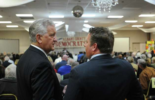 Albany Mayor Jerry Jennings and Albany County Executive Dan McCoy talk during the Albany County Democratic Committee meeting at the Polish Community Center Wednesday March 28, 2012 in Albany, N.Y. (Lori Van Buren / Times Union) Photo: Lori Van Buren
