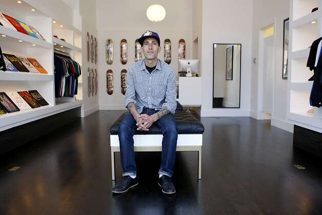 Benny Gold sits in his new shop on Mission street in San Francisco, Calif., on Friday, June 17, 2011. His shop carries a creative line of t-shirts, hats, and accessories. Photo: Michelle Terris, The Chronicle