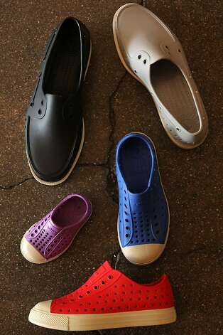 Native brand shoes on the floor of the Convert store in Berkeley. Photo: Liz Hafalia, The Chronicle