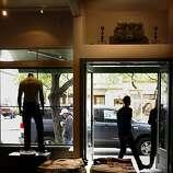 A hearth over the front door of Convert in Berkeley.