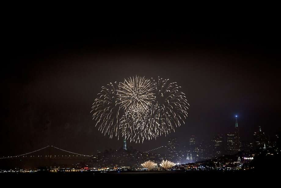 Fourth of July fireworks light up the Embarcadero in San Francisco. Photo: Carlos Avila Gonzalez, The Chronicle