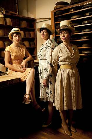 From left, Abbie Dwelle, Wendy Hawkins, Olivia Griffin, co-owners of Paul's Hat Works, stands for a portrait in the work area of their shop located in the Richmond district in San Francisco, Calif. on Thursday, Sept. 10, 2009. Along with co-owner Kristen Hove, no pictured, the four women are the fourth owner of the shop since 1918. To this day, each hat is still custom made to order in the old fashion way using many of original, now vintage, shop tools. Photo: Stephen Lam, The Chronicle