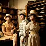 From left, Abbie Dwelle, Wendy Hawkins, Olivia Griffin, co-owners of Paul's Hat Works, stands for a portrait in the work area of their shop located in the Richmond district in San Francisco, Calif. on Thursday, Sept. 10, 2009. Along with co-owner Kristen Hove, no pictured, the four women are the fourth owner of the shop since 1918. To this day, each hat is still custom made to order in the old fashion way using many of original, now vintage, shop tools.