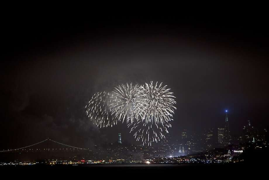 Fourth of July fireworks over San Francisco Bay will begin at 9:30 p.m. Thursday. Photo: Carlos Avila Gonzalez, The Chronicle