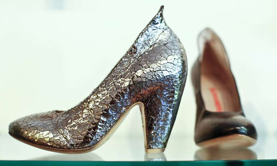 A metallic leather shoe by Elisanero at Gimme Shoes is seen on Thursday, June 28, 2012 in San Francisco, Calif. Photo: Russell Yip, The Chronicle