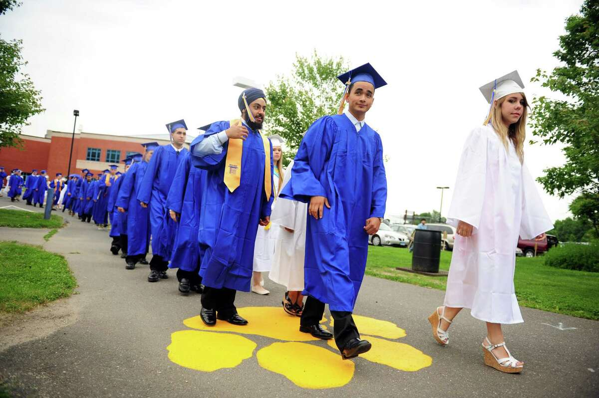 Seymour High School holds its commencement ceremony Tuesday, June 19, 2012 at the school in Seymour, Conn.