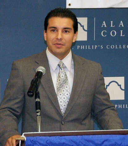 Councilman David Medina announces new scholarship opportunities for area students at St. Philip's College Southwest Campus earlier this year. Courtesy photo