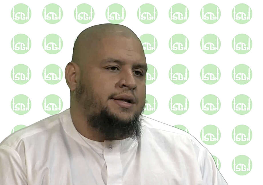 "Isa Parado, an Imam for the Islamic Society of Greater Houston is shown in this image from a video in which he talks about peace and the spirit of Islam. The caption below the video says, ""When we accept Islam fully it means we seek peace and justice, not mischief and destruction."" As Parado signs off the video, he says, ""Do not judge our faith by the actions of others.  ( Image from video / Islamic Society of Greater Houston ) Photo: Islamic Society Of Greater Houst / handout"