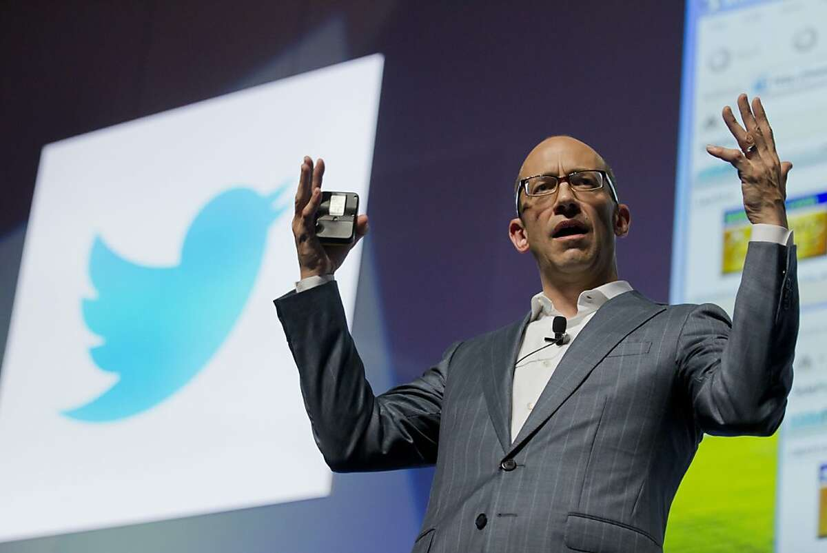 Chief Executive Officer at Twitter, Dick Costolo from USA gives a speech at the Cannes Lions 2012, International Advertising Festival in Cannes, southern France, Wednesday, June 20, 2012. The Cannes Lions International Advertising Festival is a world's meeting place for professionals in the communications industry.(AP Photo/Lionel Cironneau)