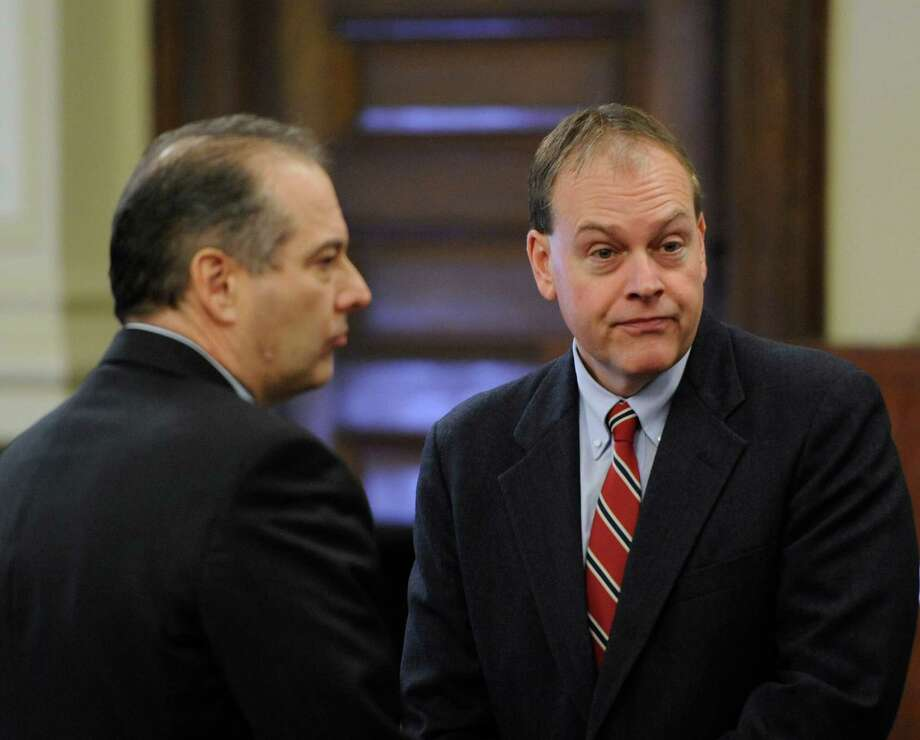 Edward McDonough, right confers with his attorney Brian Premo before his final summation in the ballot fraud case in the Rensselaer County Courthouse in Troy, N.Y. March 2. 2012.  (Skip Dickstein / Times Union) Photo: SKIP DICKSTEIN / 2011