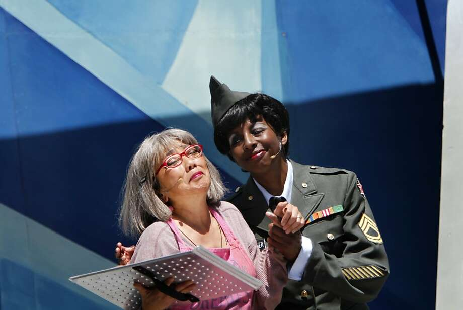 Keiko Shimosato Carreiro (left) is a delight as a victimized widow and Velina Brown is outstanding as Capt. Algood Fairweather in S.F. Mime Troupe play. Photo: Sarah Rice, Special To The Chronicle