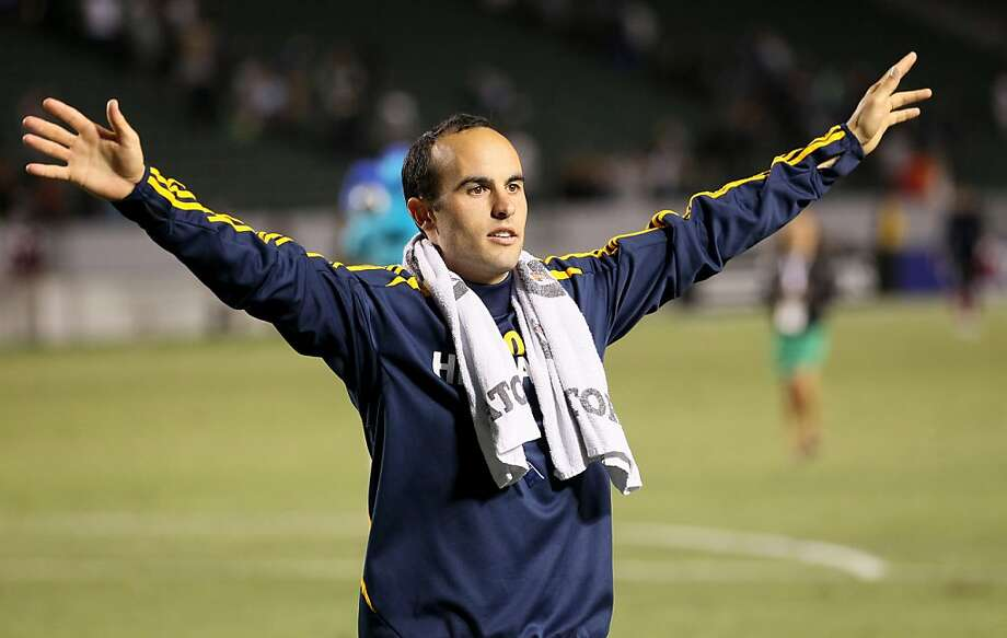 CARSON, CA - JUNE 23: Landon Donovan #19 of the Los Angeles Galaxy gestures toward a Galaxy cheering section after the game with the Vancouver Whitecaps at The Home Depot Center on June 23, 2012 in Carson, California.  The Galaxy won 3-0.  (Photo by Stephen Dunn/Getty Images) Photo: Stephen Dunn, Getty Images