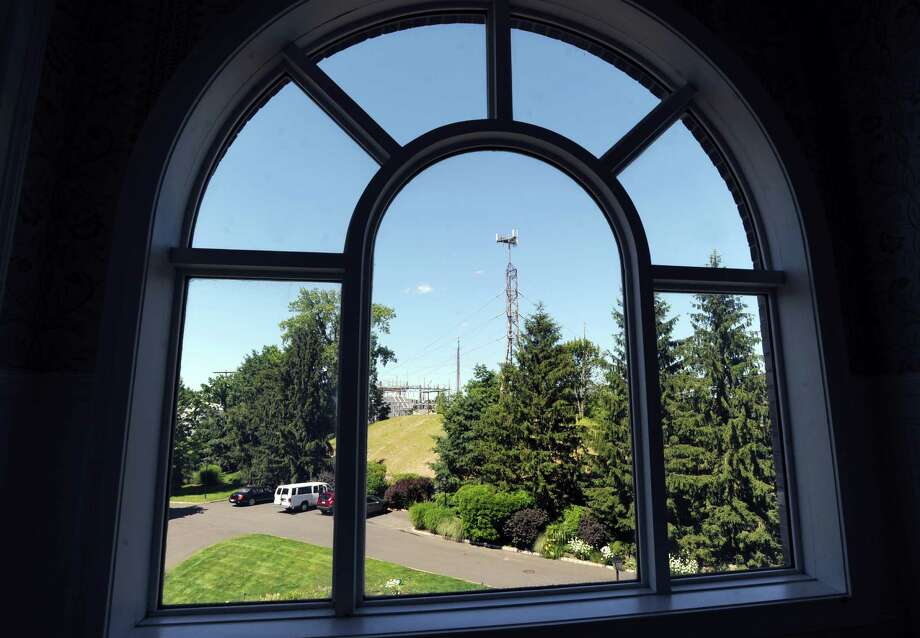The power plant superstructure as seen through a window at the Waterford condo complex in Cos Cob, Wednesday, June 27, 2012. Photo: Bob Luckey / Greenwich Time