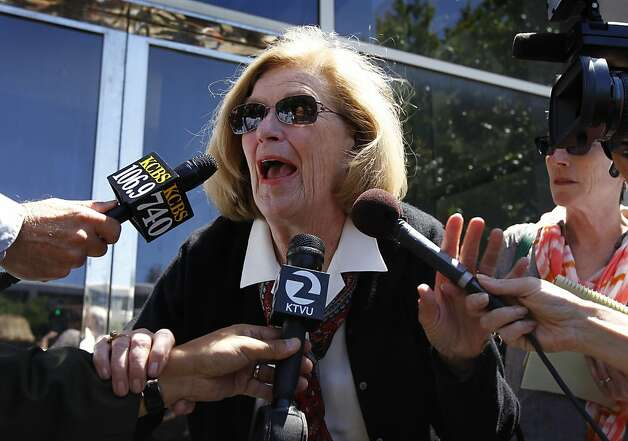Peggy Lynch meets with reporters after her son William Lynch was found not guilty on felony assault charges at the Hall of Justice in San Jose, Calif. on Thursday, July 5, 2012. The jury returned a hung verdict on a simple assault charge. Lynch was accused of assaulting Jerry Lindner, a priest who Lynch says sexually molested him as a boy. Photo: Paul Chinn, The Chronicle