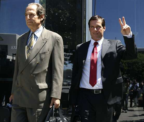 William Lynch (right) leaves the Hall of Justice with one of his attorneys Paul Mones after Lynch was found not guilty on felony assault charges in San Jose, Calif. on Thursday, July 5, 2012. The jury returned a hung verdict on a simple assault charge. Lynch was accused of assaulting Jerry Lindner, a priest who Lynch says sexually molested him as a boy. Photo: Paul Chinn, The Chronicle