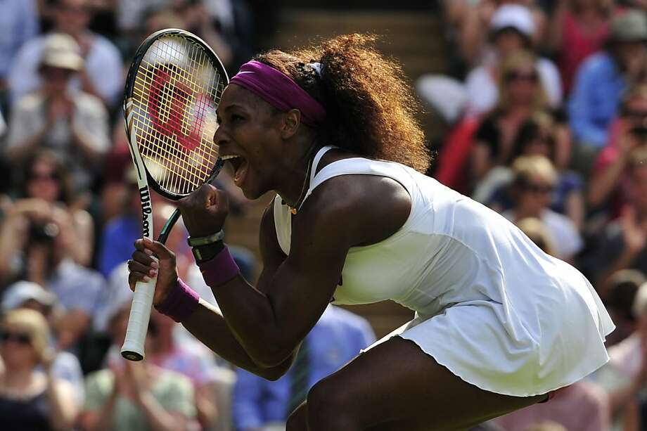 US player Serena Williams celebrates her women's singles semi-final victory over Belarus's Victoria Azarenka on day 10 of the 2012 Wimbledon Championships tennis tournament at the All England Tennis Club in Wimbledon, southwest London, on July 5, 2012. AFP PHOTO / GLYN KIRK    RESTRICTED TO EDITORIAL USEGLYN KIRK/AFP/GettyImages Photo: Glyn Kirk, AFP/Getty Images