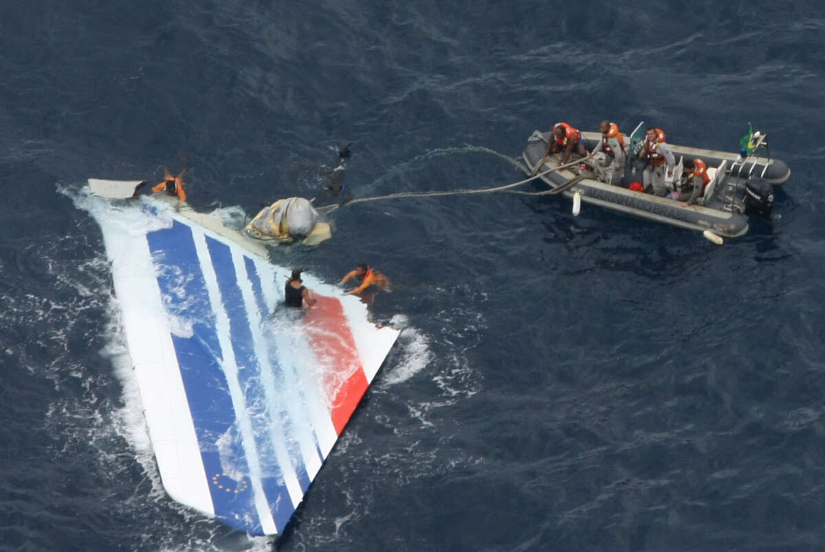 The crash of air France Flight 447 in the Atlantic on June 1, 2009, left debris behind, including this piece recovered a week later by Brazilian Navy sailors.