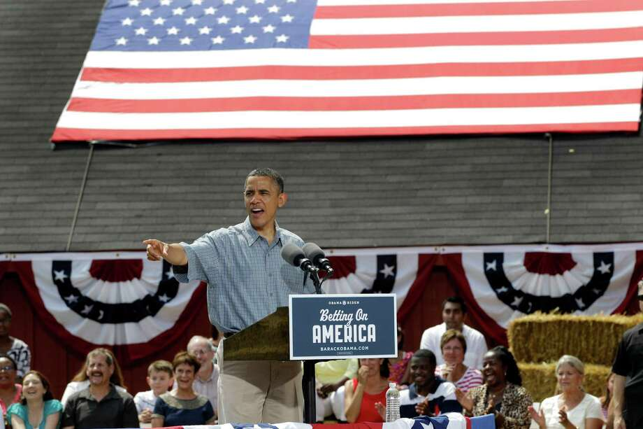 President Barack Obama speaks at the Wolcott House Museum in Maumee, Ohio, Thursday, July 5, 2012. (AP Photo/Carlos Osorio) Photo: Carlos Osorio / AP