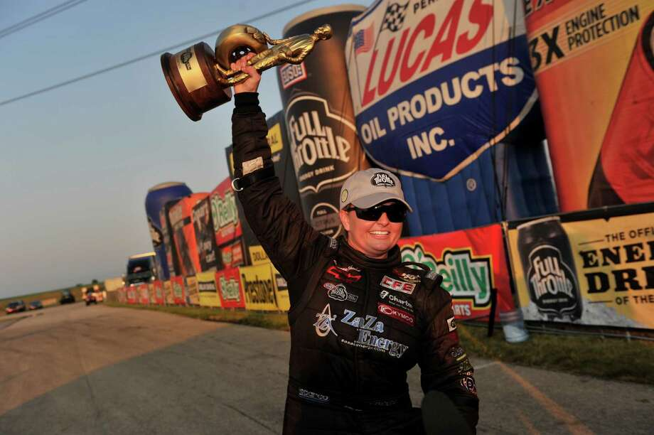 When Erica Enders captured the Route 66 NHRA Nationals on Sunday in Joliet, Ill., the Houston native made history as the first female to win an NHRA Pro Stock event. Later in the day, Enders received - and accepted - a marriage proposal. Photo: Theresa Long / NHRA