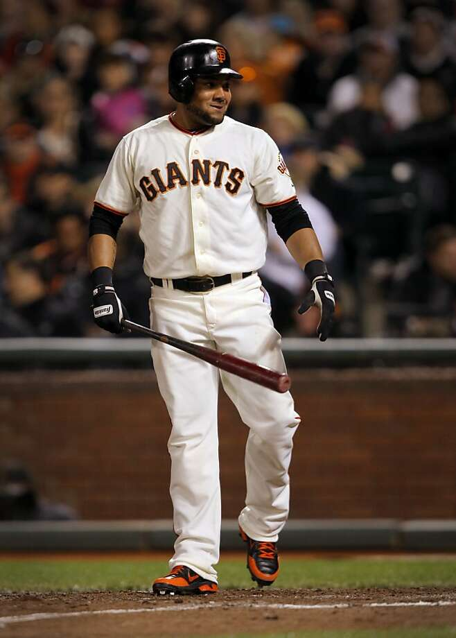 San Francisco Giants left fielder Melky Cabrera smiles while up to bat  during their game against the Diamondbacks in San Francisco, Calif. Wednesday, May 30, 2012.  Cabrera tied a Giants record for most hits in a month with 51. Photo: Sarah Rice, Special To The Chronicle