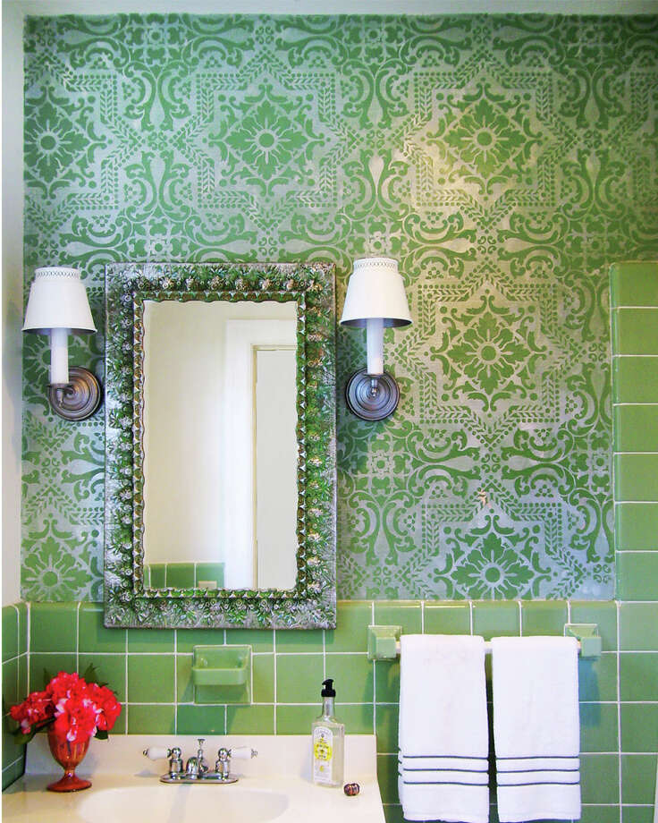 In this 2012 photo provided by Royal Design Studio, an allover tile stencil by artist, Michelle Lopez, is shown in a bathroom remodel in Madison, M.S. (AP Photo/Royal Design Studio, Michelle Lopez) Photo: Michelle Lopez, HONS