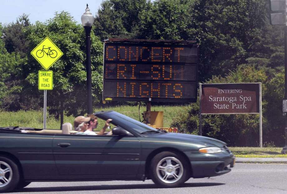 A sign Friday on Route 9 advises drivers of concert traffic. Phish is performing three nights at the Saratoga Performing Arts Center in Saratoga Springs. (Michael P. Farrell / Times Union) Photo: Michael P. Farrell