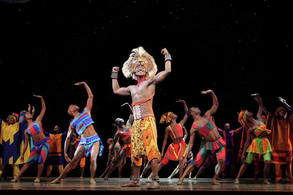 """Jelani Remy as """"Simba"""" and the ensemble in """"He Lives in You"""" from THE LION KING National Tour. Disney. Photo Credit: Joan Marcus."""