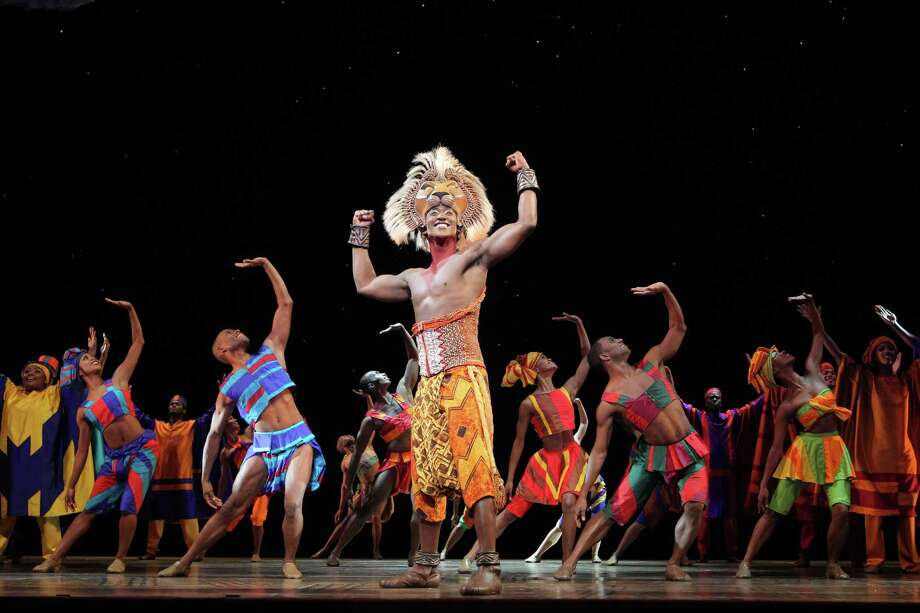 "Jelani Remy as ""Simba"" and the ensemble in ""He Lives in You"" from THE LION KING National Tour.  Disney.  Photo Credit:  Joan Marcus."