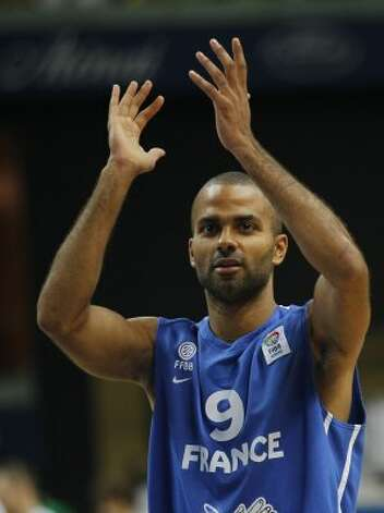France's Tony Parker reacts during their EuroBasket European Basketball Championship Group E match against Lithuania, in Vilnius, Lithuania, Friday Sept. 9, 2011. (Darko Vojinovic / Associated Press)