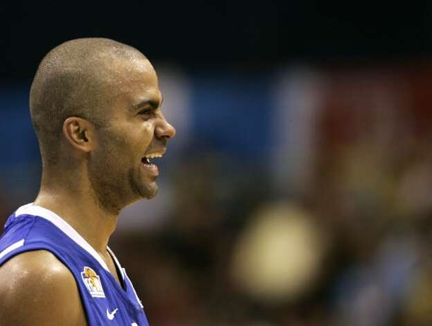 France's Tony Parker smiles during their EuroBasket 2009, European Basketball Championships group B match against Russia, in Gdansk, northern Poland, Wednesday Sept. 9, 2009. (Darko Vojinovic / Associated Press)