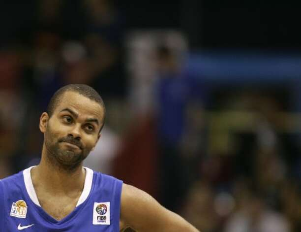 France's Tony Parker reacts during their EuroBasket 2009, European Basketball Championships group B match against Latvia, in Gdansk, northern Poland, Tuesday Sept. 8, 2009. (Darko Vojinovic / Associated Press)