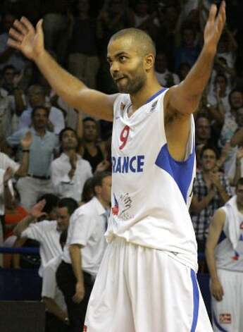 France's Tony Parker reacts during their Euro 2009 basketball qualifying round against Belgium, in Pau, southwestern France, Sunday, Aug. 30, 2009. France won 92 to 54 to qualify. (Fred Scheiber / Associated Press)
