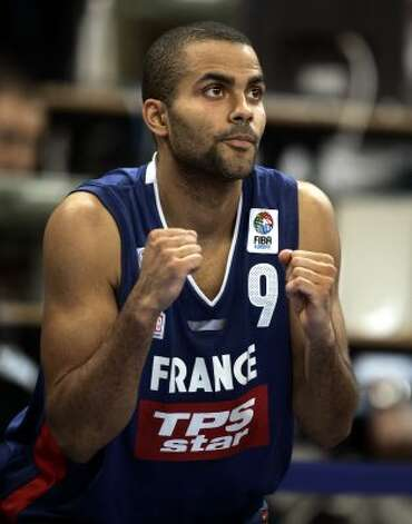 France's Tony Parker of the NBA's San Antonio Spurs celebrates his team's point during the quarter final match against Lithuania at the European Basketball Championship in Belgrade Thursday, Sept. 22, 2005. (Dusan Vranic / Associated Press)